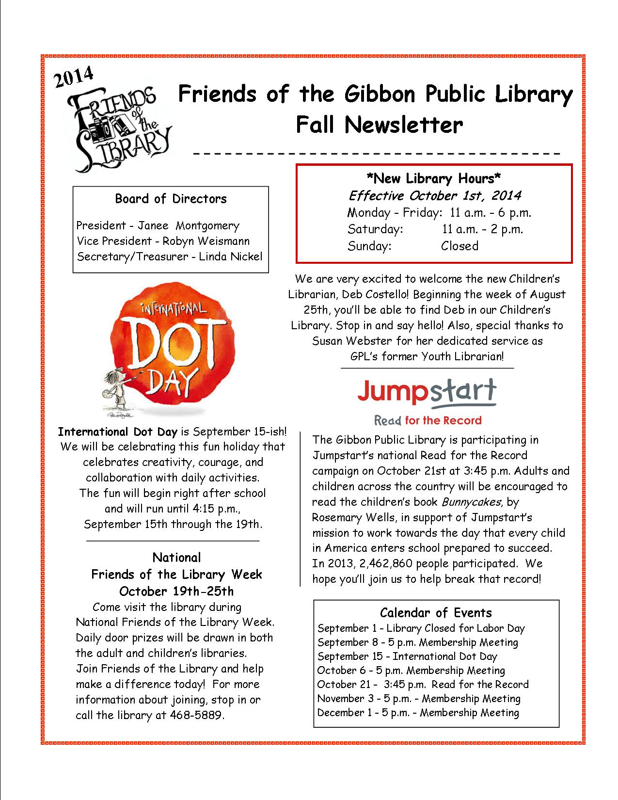 Friends of Library Newsletter - Fall 2014