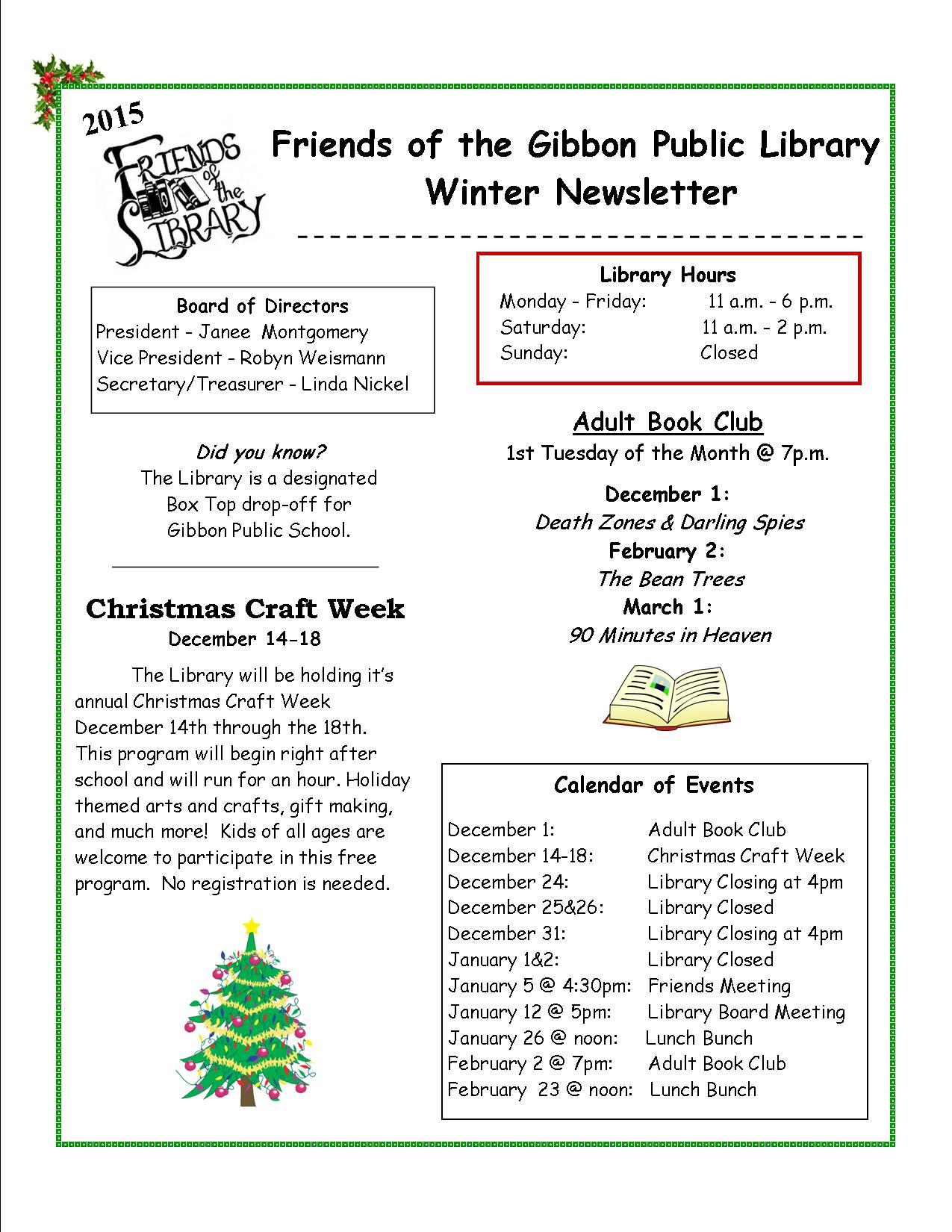 Friends of Library Newsletter - Winter 2015